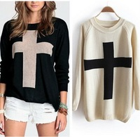 Womens Cross Pattern Knit Sweater Outerwear Crew Pullover Tops Free shipping