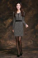 Houndstooth one-piece dress swallow winter dress ol career dress women's 2013 autumn and winter plaid one-piece dress