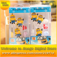 5pcs Stylish Despicable Me The Minion Pattern General 3.5mm In-Ear Earphone Headphone With Retail Box For Mobile Phone MP3