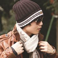 Thickening thermal winter hat men  women knitted hat wool cap stripe hat pocket hat  free  shipping