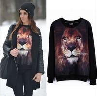 Free ShippingNew Autumn European Style Women Black Full Sleeves Lion Head Loose Pullover Jumper/3DAnimal Print Hoodie Sweatshirt