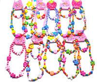 120sets Lovely Cartoon wooden children/Kid necklace+bracelet assorted set free wholesale