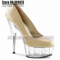 Free Shipping 2014 Sexy Women's 15cm Super High Heel Pumps Patent Leather Crystal Platform Shoes 6 inch beige Party Dance Pumps