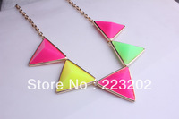 2014New Hot Sell Fashion vintage Jewelry Acrylic Colorful Triangle Design Collar Necklace For Women  DIY03