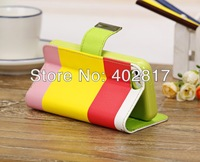 New Multi-Color Stripe Wallet Credit Card Stand Holder Flip Folio Leather Case Cover For iPhone 5C 100pcs/lot DHL Free Shipping