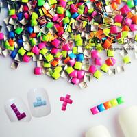 Retail 1000pcs/bag 3D Nail Art  Studs 5 MIX Fluorescent Colors  Square Shape  3*3mm Nail  Metallic Decoration Free shipping