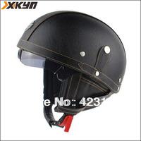 Fashion leather Halley helmet  retro open face helmet,half helmet  Vintage 100% handcrafted