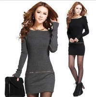 Dresses New Fashion 2013 Winter Dress Women Casual Slim Long-Sleeved  Sweater knitting  Bodycon Dress And Fast Shipping