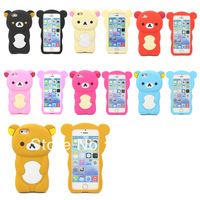 For Apple iPhone 5C Colorful 3D Cute Teddy Bear Silicone Gel Skin Case Cover + Screen protector
