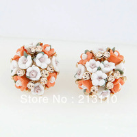 2014 Fashion Exaggerated Gold Plating Flower Clip Earring Jewelry For Women