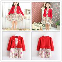 Female child sistance long-sleeve dress princess dress fashion spring red flower girls dresses new year beautiful girl clothing