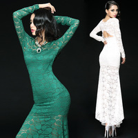 Free shipping long evening dress 2014 new arrival lace backless mermaild dresses fomal vestidos de festa