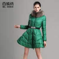 2013 big skirt female medium-long down coat slim waist slim raccoon fur down coat