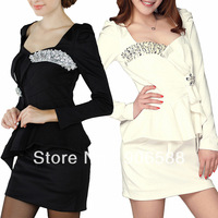 Womens Ladies New Square Neck Long Sleeve Cotton Blend Stretch Pricess Black/ White Casual  Dresses  D132D05