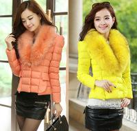 Free Shipping New Fashion 2014 Winter Women Large Fur Collar Long Sleeve Short Design Slim Cotton Padded Coat Korean Down Jacket