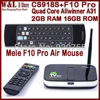 CS918S Quad Core Android TV Box Camera Allwinner A31 2GB RAM 16GB ROM RJ45 Bluetooth Smart XBMC TV Box + Mele F10 Pro Air Mouse