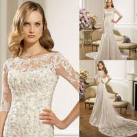 Illusion High Neckline Long Sleeve Lace Detachable Train Gorgeous 2014 Lace Wedding Dress