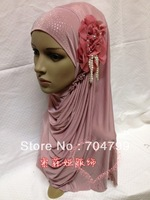 H653 latest fashion muslim flower hijab with pearls,free shipping,fast delivery,assorted colors