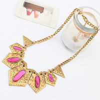 New 2014 women's luxury punk vintage style purple resin stones jewelry geometric triangle pendants necklaces #101138