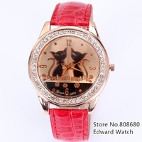 New 2013 fashion whatch women dress watch women rhinestone watches leather relogio feminino two cats for ladies gift wach clock