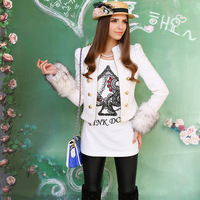 free shipping +wholesale 2013 white small stand collar cuff double breasted jacket outerwear