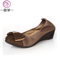 new genuine leather women's shoes single shoes rhinestone round toe wedges soft outsole casual female shoes mother shoes low-top