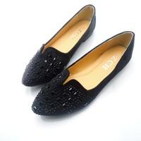 2013 rhinestone leuconostoc pointed toe flat bottom single shoes female wedding shoes flat heel princess shoes cute plus size