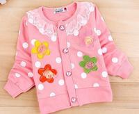2014 Spring New Children clothes Girl Child Flower Long sleeve Cardigan Jacket Girl Cardigan Sweatshirt Girl Knit Outwear Jakcet