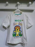 Free shipping boy boys RAA RAA the Noisy Lion grey white t shirt top kids children tee t-shirt 1 piece