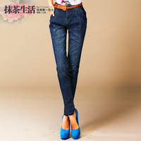 Warm clothes 2013 women's plus size women's jeans wash water