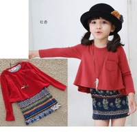 Q-076,2013 Christmas new children costume cute girl red long sleeve dress spring brand baby clothes Retail Free shipping