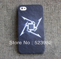New Customed Black Case with White Metallica Logo Thrash Heavy Speed Metal ONE Plastic Case for iPhone 5 5G 5S