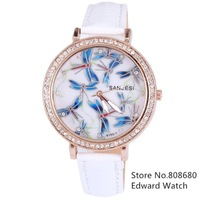 New 2013 Whatch Women Dress Watches Women Rhinestone Watches Leather Relogio Feminino Alloy Round Dragonfly Cartoon Wach Fitness