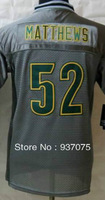 Free Shipping Cheap Wholesale 2013 New Green Bay #52 Clay Matthews Jersey Elite Grey Youth Boys Kid Jerseys