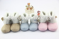 Retail  2013 3 Colors Fur Shoes Baby Warm Winter Snow Boots First Walkers For Boy Girl Kids Infant  Free&Drop Shipping