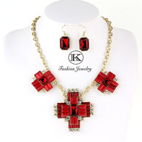 Free shipping Women's Jewelry Cross Sets Necklaces & pendants Earings Fashion  Necklace Chain Resin Jewelry