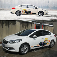2013 Car styling exterior stickers HD inkjet black kimono cartoon girl body protective film for kia k2 k3,golf,Chevrolet Cruze