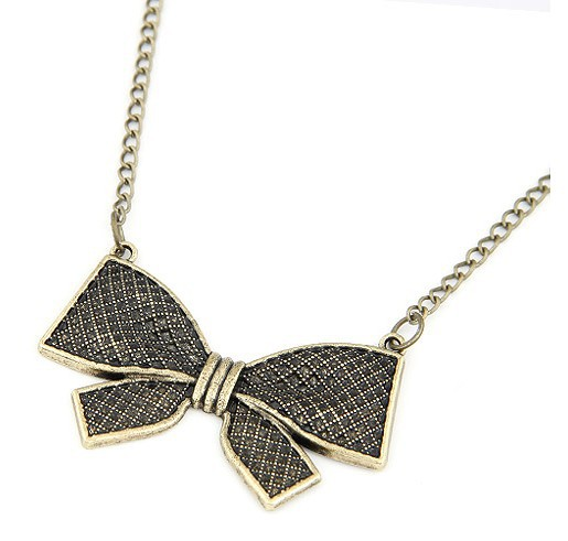 Min.order $10 Mix order New SPX3726 Fashion Charms Bow Chain Necklace Free Shipping(China (Mainland))