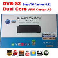 2014  Free Shipping 1080p Dual core DVB s2  Android 4.22 TV BOX Google TV Box IPTV android satellite receiver hd dvb-s2