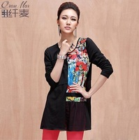 Plus size clothing 2013 autumn diamond pattern print loose t-shirt 13020