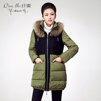 Plus size clothing 2013 mm fashion straight patchwork raccoon fur down coat female hl131181
