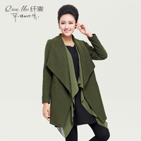 Plus size clothing 2013 mm fashion patchwork chiffon cardigan woolen outerwear 13981