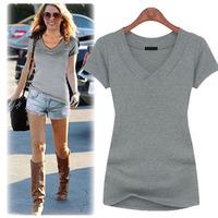 New 2014 fashion plus size women fashion and slim slim V collar t-shirt with short sleeved T-shirt