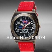 NEW  6562 Unisex UK Flag & Crown Print Round Analog Watch with Faux Leather Strap (Blue.red) +free shipping