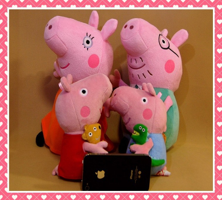 Lovely Peppa Pig Plush Toys Daddy Mummy Pig Dragon George+Teddy bear Peppa Pig Family Set Dolls Stuffed Toys For Baby Children(China (Mainland))