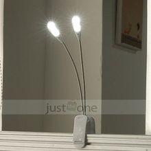 neuen schlanken schwarz weiß 2 dual flexible arme 4 leds Clip- auf lampe für Klavier laptop Buch lesen(China (Mainland))