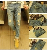 promotion cheap new 2013  beggar pants male vintage hole jeans slim skinny pants trousers the trend of male