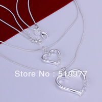 JN004 Promotion! hot sale factory price wholesale 925 solid silver necklace,fashion jewelry Double Heart Snake Necklace