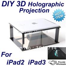 DIY 3D Holographic Projection Pyramid for ipad 2 ipad 3 NEW ipad 4 Hatsune Miku Super Sonico dancing MV(China (Mainland))