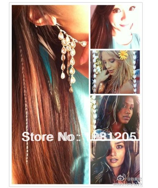 Перо градиент цвет наращивание волос гризли петля пушистый волос расширение 16 дюймов много - цвет 100 pcs/lot